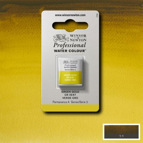 Tinta Aquarela Profissional W&N Green Gold Pastilha S2 (0101294) - Papelaria Botafogo