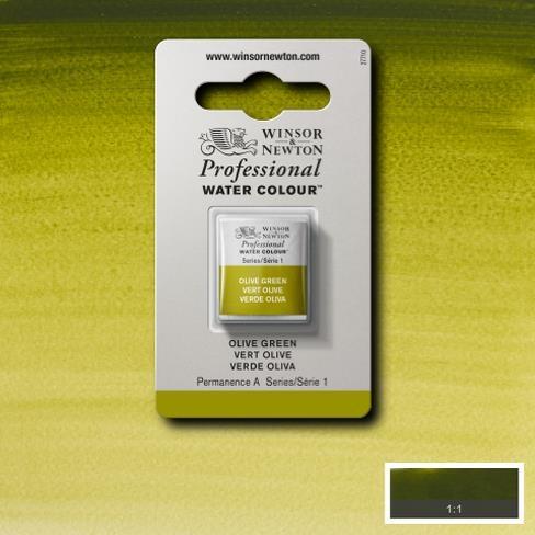 Tinta Aquarela Profissional W&N Olive Green Pastilha S1 (0101447) - Papelaria Botafogo