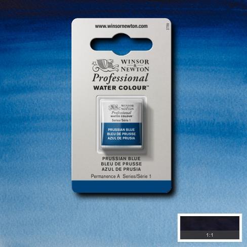 Tinta Aquarela Profissional W&N Prussian Blue Pastilha S1 (0101538) - Papelaria Botafogo