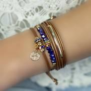 Pulseira banho ouro  Kit 2 Pulseiras Cristais  azul bic  e medalha Amor