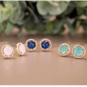 Brinco semijoia Cristal círculo-Opções:leitoso, azul e verde