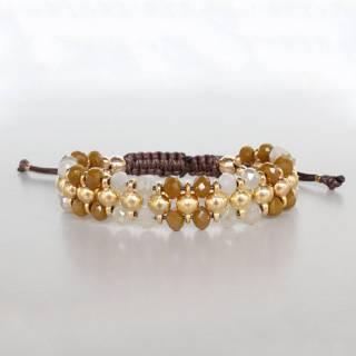 Banho ouro  Cristal mostarda e leitoso fio marrom