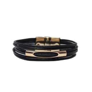 Pulseira de Couro feminina semijoia Banho ouro Black canutilho vazado voltas