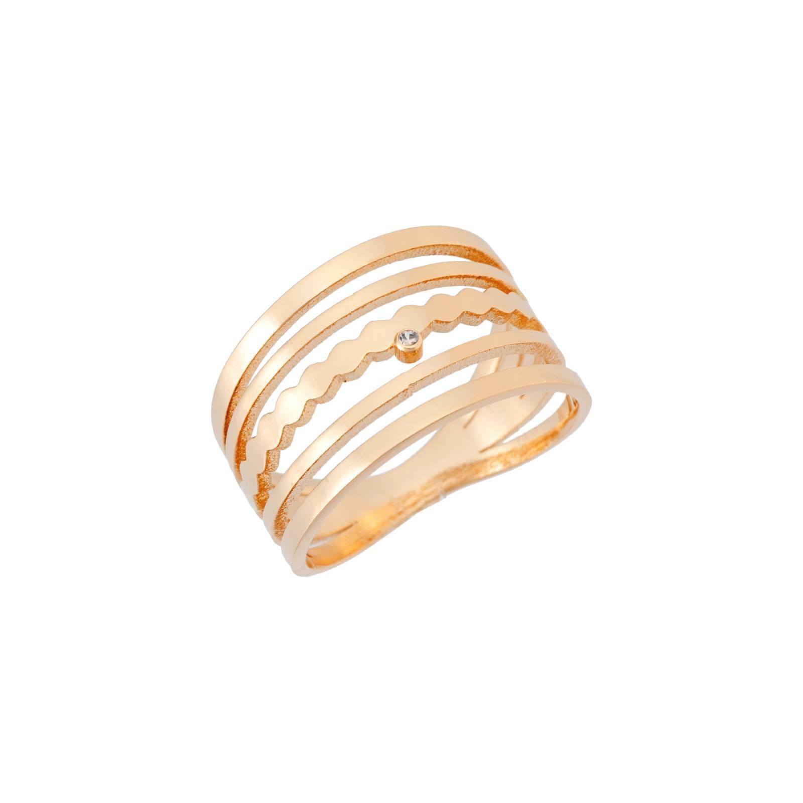 Anel semijoia Zircônia design vazado banhado a ouro