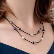 Colar de couro feminino semijoia Cristal furtacor fio black