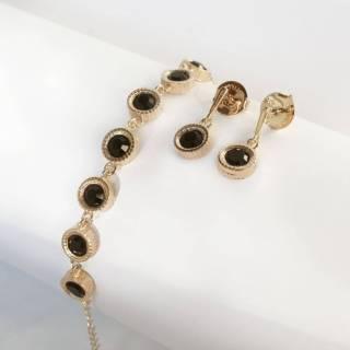 Conjunto semijoia Cristal black redondo Brinco e pulseira banhado a ouro
