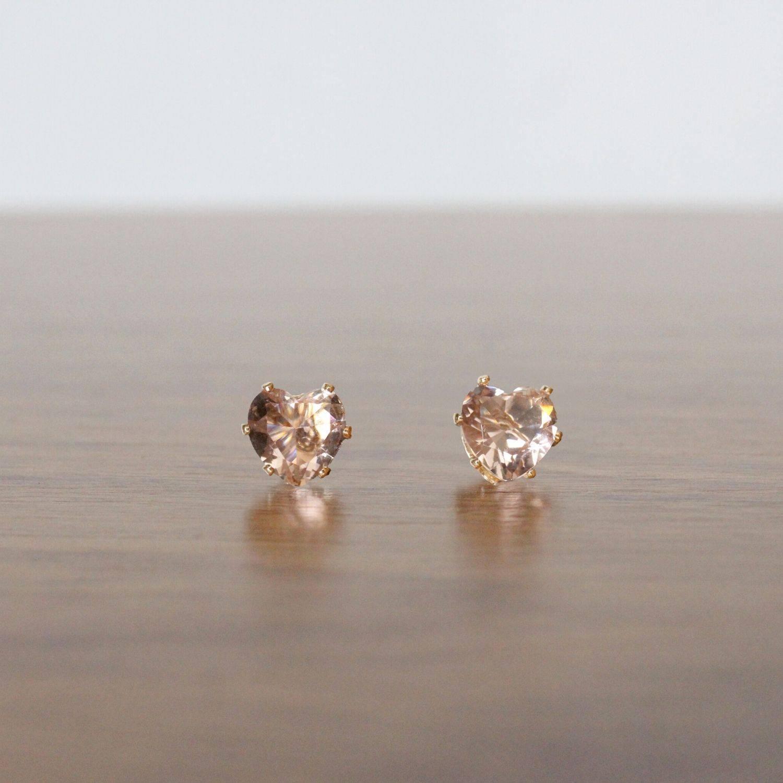Brinco semijoia Cristal peach coração banhado a ouro