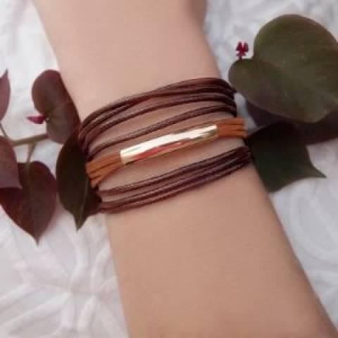 Bracelete semijoia Fio e couro marrom ton sur ton