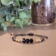 Pulseira semijoia Cristal black e grafite duplo banhado a ouro