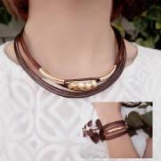 Composição Colar C37271M + Bracelete P37483M banhado a ouro