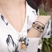 Composição Colar C37317 + Bracelete P37531 banhado a ouro