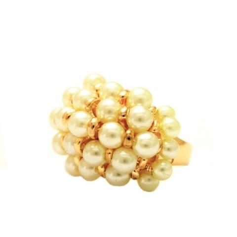 Anel  semijoia Cacho de pérolas banhado a ouro