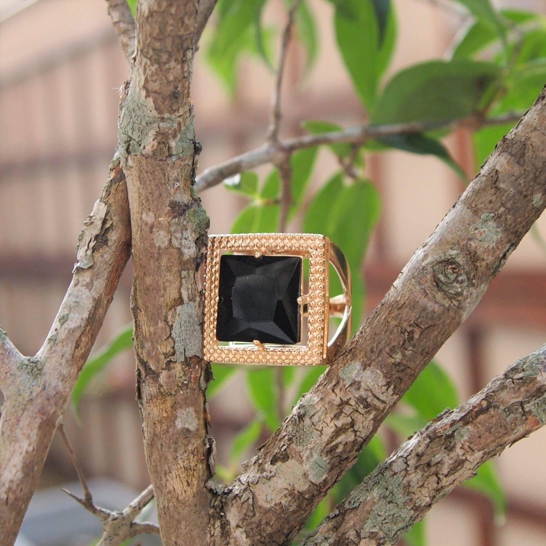 Anel  semijoia Cristal quadrado cristal black maxi banhado a