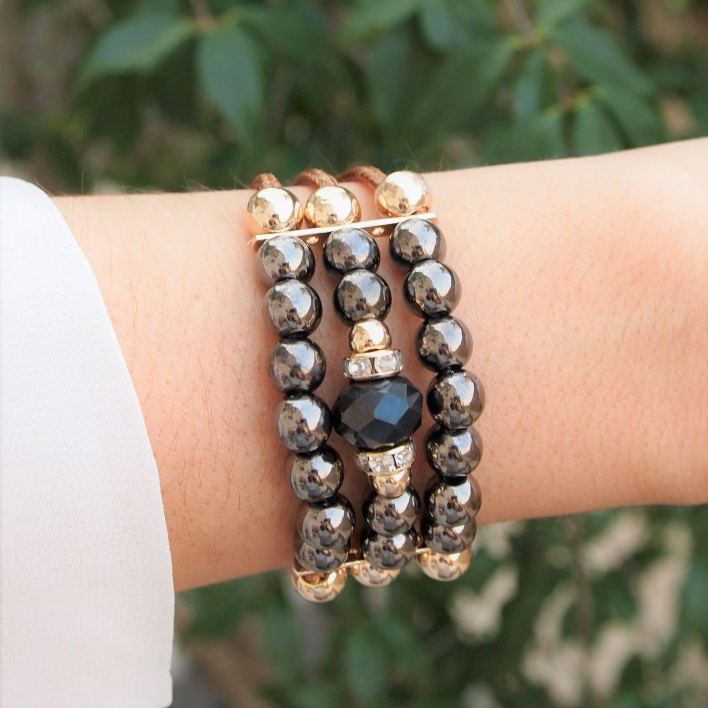 Bracelete  semijoia Pérolas e cristal grafite fio caramelo b