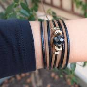 Bracelete de Couro Cristal grafite e nó camurça nude e black