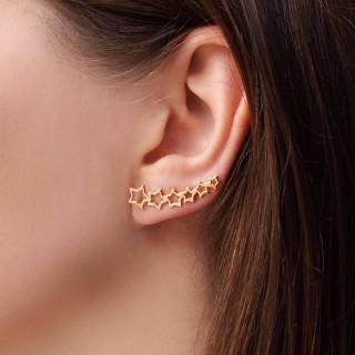 Brinco semijoia ear cuff estrelas banhado a ouro (Opção: Banho ouro e banho ródio)