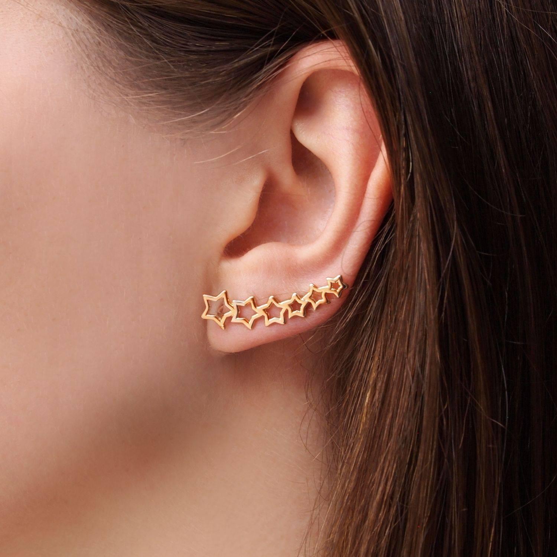 Brinco semijoia ear cuff estrelas banhado a ouro (Opção: Ban