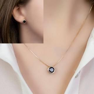 Conjunto semijoia Round cristal black (Opção corrente veneziana e elos)