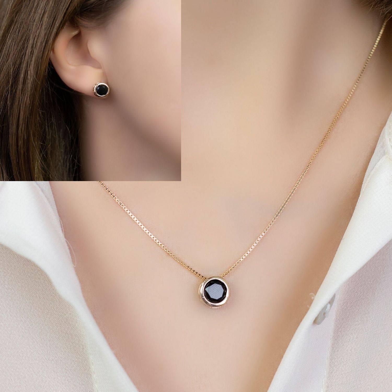 Conjunto semijoia Round cristal black (Opção corrente venezi