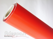 Vinil Fibra de Carbono Vermelho Texturizado c/1,38m/lg | ADESPAN
