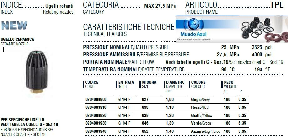 BICO ROTATIVO ROTOJET 250 G1/4F 3625 LIBRAS (ABERTURA 045 (1,30mm)) - Mundo Azul