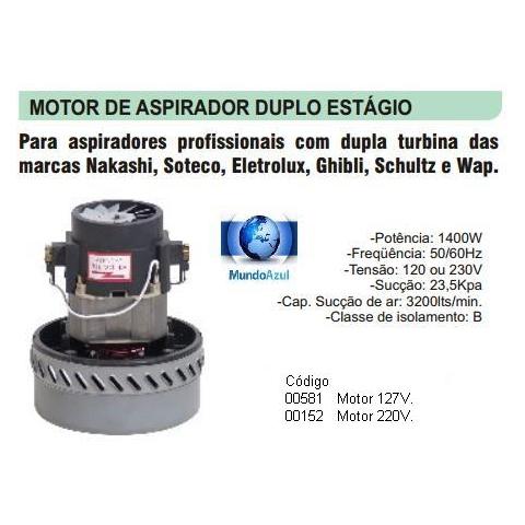 MOTOR DUPLA TURBINA 127V. P/JACTO/SOTECO/ARTLAV/SCHULTZ/GHIBLI - Mundo Azul