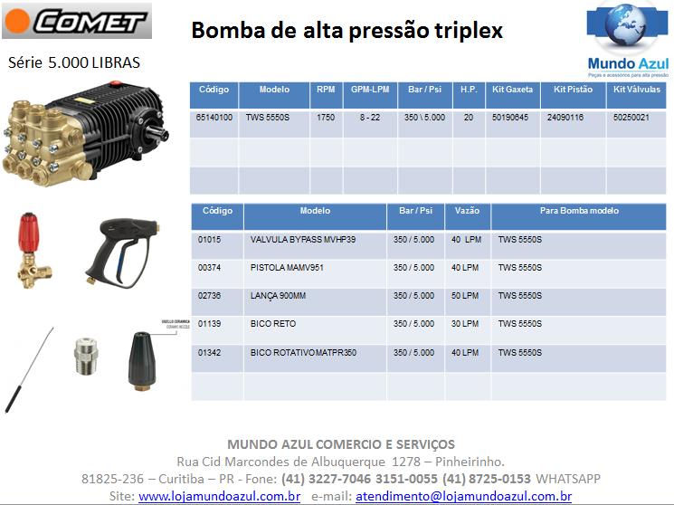 BOMBA ALTA PRESSÃO TRIPLEX COMET TWS 5550S - 5.000 LIBRAS 22 L/MIN 1750 RPM - Mundo Azul