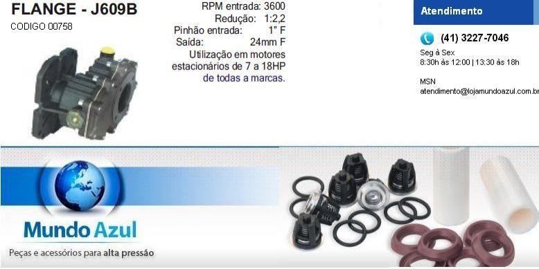 REDUTOR ROTAÇÃO PARA MOTORES A GASOLINA J609B - Mundo Azul
