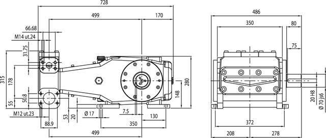 BOMBA TRIPLEX HPP SL 167/250 3625 LIBRAS/PSI - 167 L/MIN - 750 RPM - Mundo Azul