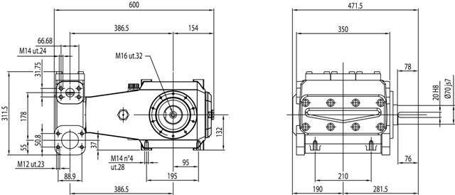 BOMBA TRIPLEX HPP GL 171/185 2683 LIBRAS/PSI - 171 L/MIN - 750 RPM - Mundo Azul