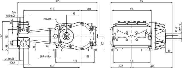 BOMBA TRIPLEX HPP MLR 250/250 3625 LIBRAS/PSI - 250 L/MIN - 1800 RPM - Mundo Azul