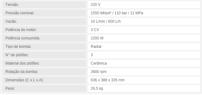 MOTOBOMBA PARA CLIMATIZAÇÃO MBC 10/1550 10 L/min / 600 L/h 1550 lbf/pol² / 110 bar 220V MONOFÁSICO - Mundo Azul
