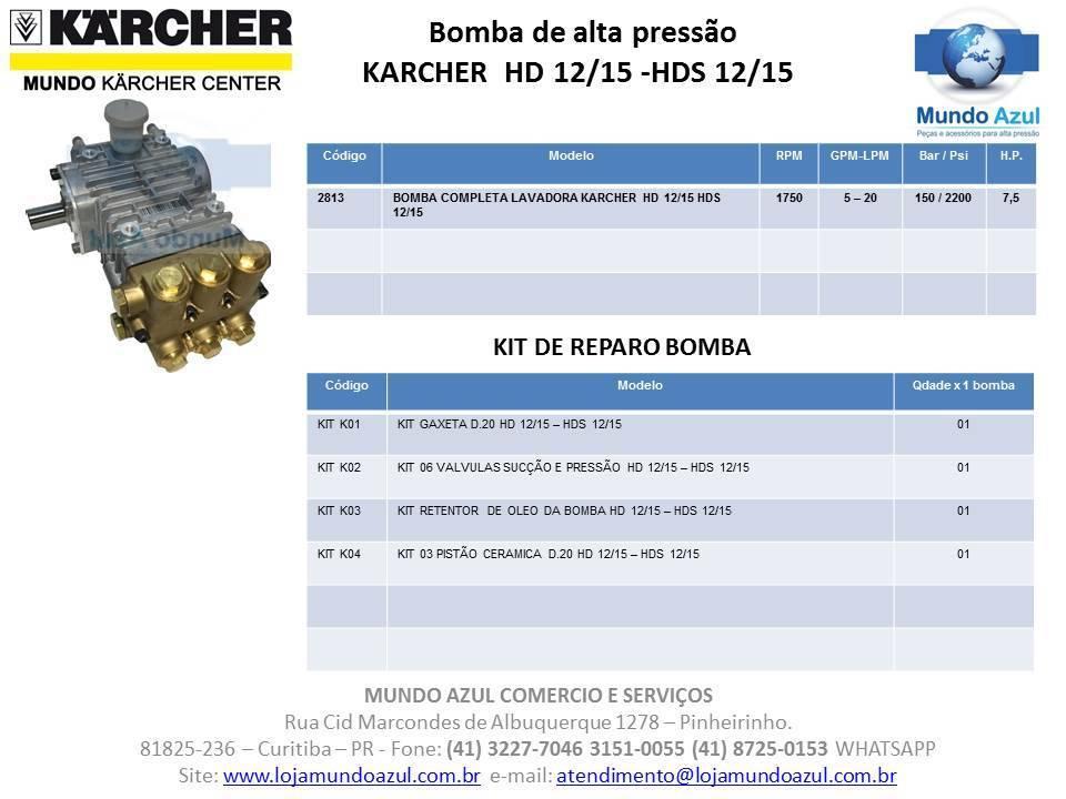 BOMBA ALTA PRESSÃO PARA LAVADORA KARCHER HD 12/15 E HDS 12/15 ORIGINAL COD 02819 - Mundo Azul