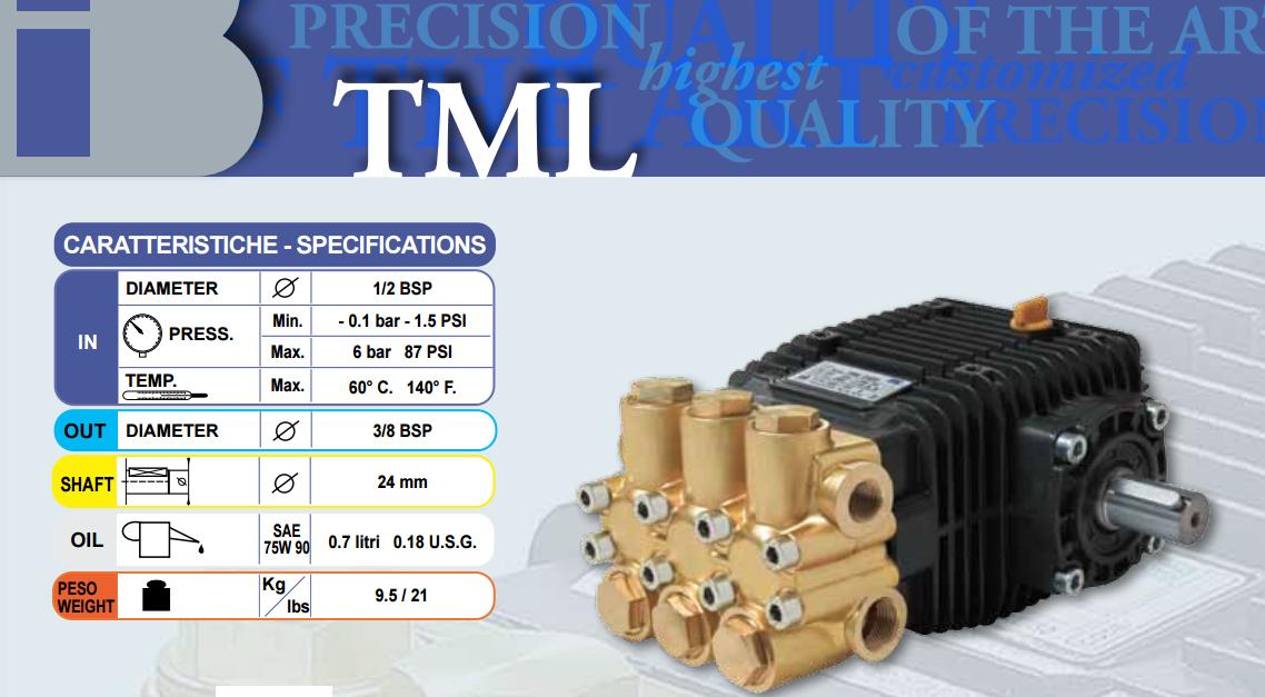 BOMBA ALTA PRESSÃO TRIPLEX 30 LITROS MINUTO 160 BAR 1750 RPM TECNOESSE TML3016 COD. 3753 - Mundo Azul