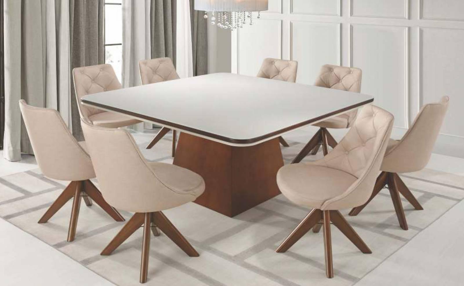 Mesa de Jantar Guiné com 8 Cadeiras Elegance Diplomata Móveis - All Home