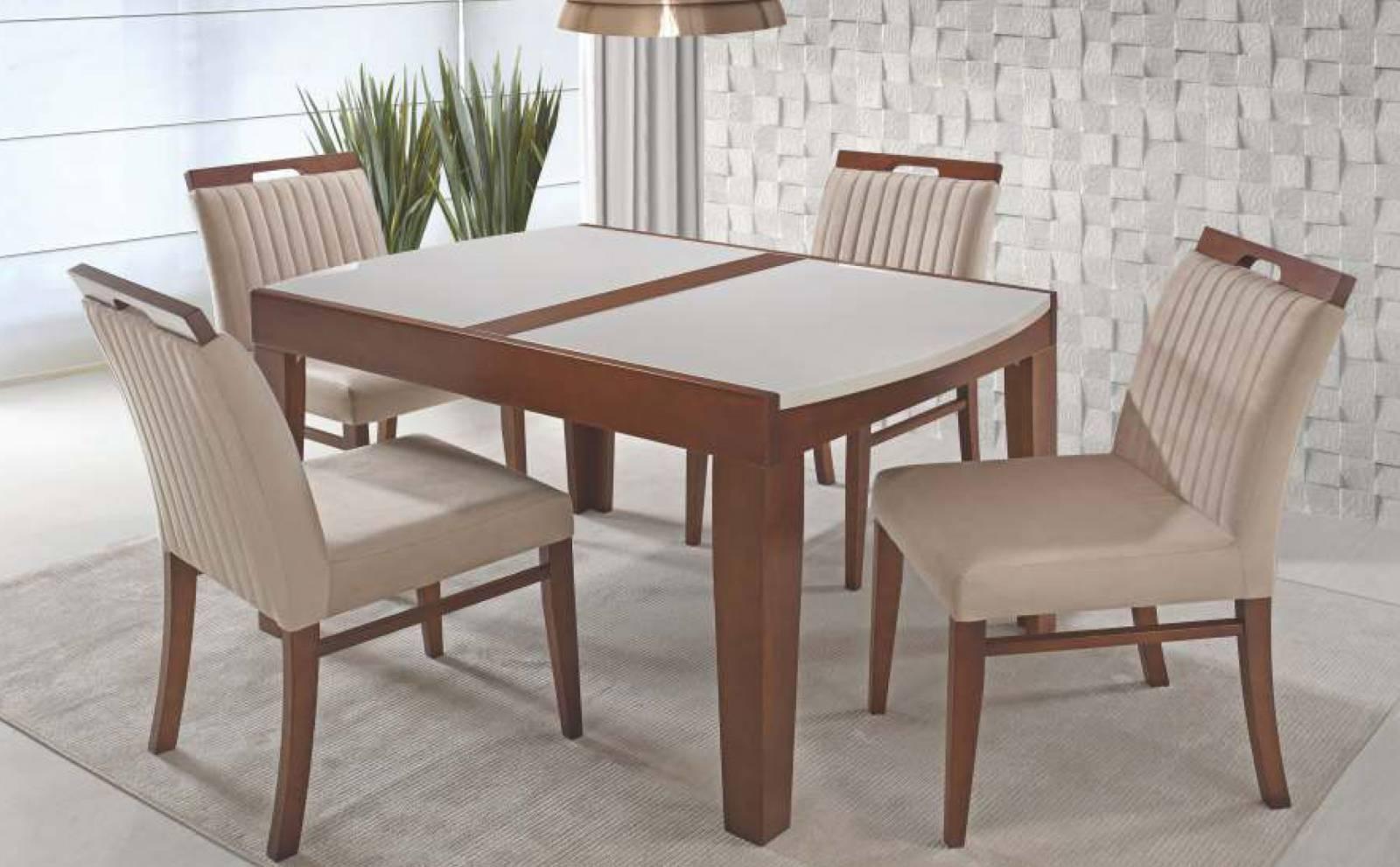 Mesa de Jantar Torres com 4 Cadeiras Orlando Diplomata Móveis - All Home