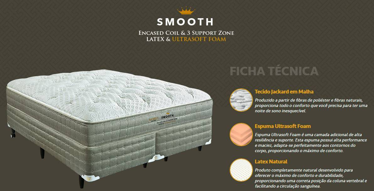 Conjunto Cama Box Smooth King Koil - All Home