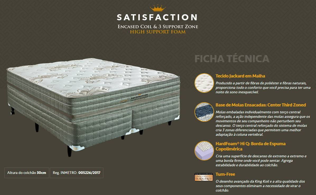 Conjunto Cama Box Satisfaction King Koil - All Home