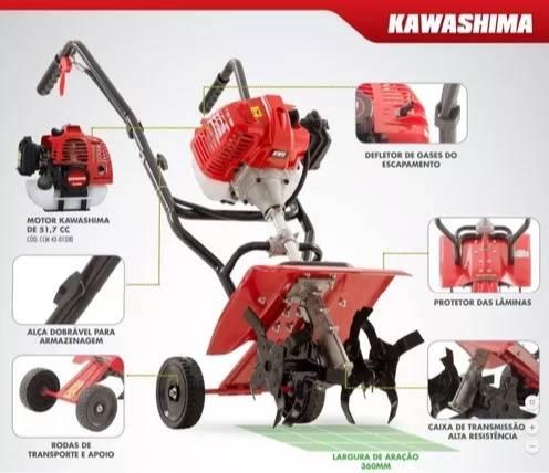 Enxada Rotativa ER36 Kawashima - 52cc - Gasolina 2 tempos - BSS Maquinas