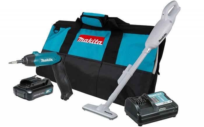 Combo Makita - DK0088WX1 - Aspirador Bateria Acessórios, Par - BSS Maquinas
