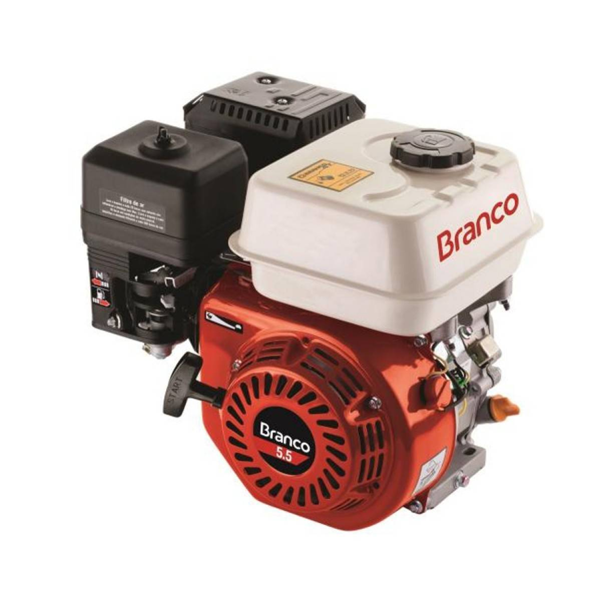 Motor Branco Gasolina B4T 8,5CV Eixo H. Monocili. - BSS Maquinas
