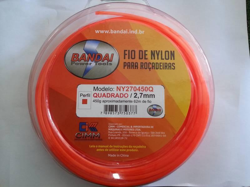 Fio de Nylon 2,7mm QUADRADO c/ aprox.62metros 450gr p/ roçad - BSS Maquinas
