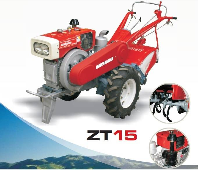 Microtrator Kawashima ZT15 Diesel P. Elétrica 15HP Rotativa - BSS Maquinas