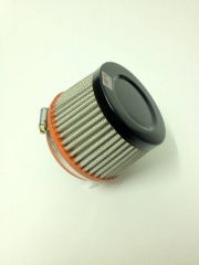 "Filtro de ar cônico fluxo simples, pequeno | Preto e Laranja | boca de 3"" - Universal."