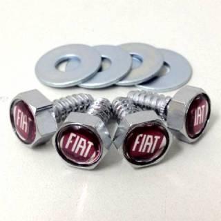 Kit de Parafusos com arruelas para Placas - Emblema Fiat - Vermelho | DUB Store