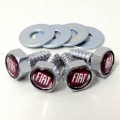 Kit de Parafusos com arruelas para Placas - Emblema Fiat - Vermelho