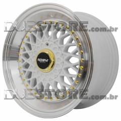 Jogo de Rodas Rodera RS Borda Cônica 17x8,5 4x100/5x100 | Branca / High Polished + golden details
