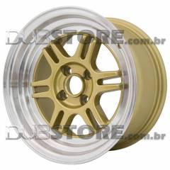 Jogo de Rodas Zeus RPF1 15x8 4x100 | Dourada Diamantada