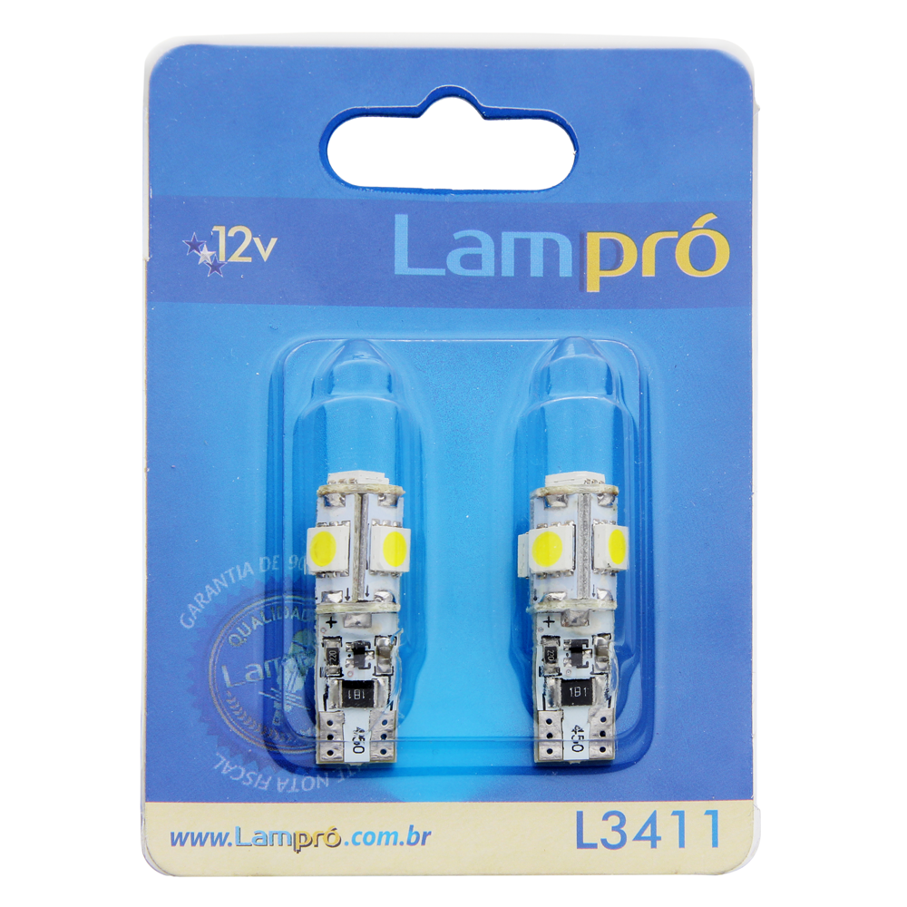 Kit Pingo LED Lampró Super Branco c/ Canceler   W5W   DUB Store