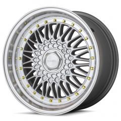 Jogo de Rodas Rodera RS 17x8,5 4x100/108 |Silver / Polished + golden details